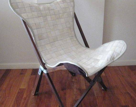Tripo Butterfly Chair White Cowhide Patchwork Leather Cover