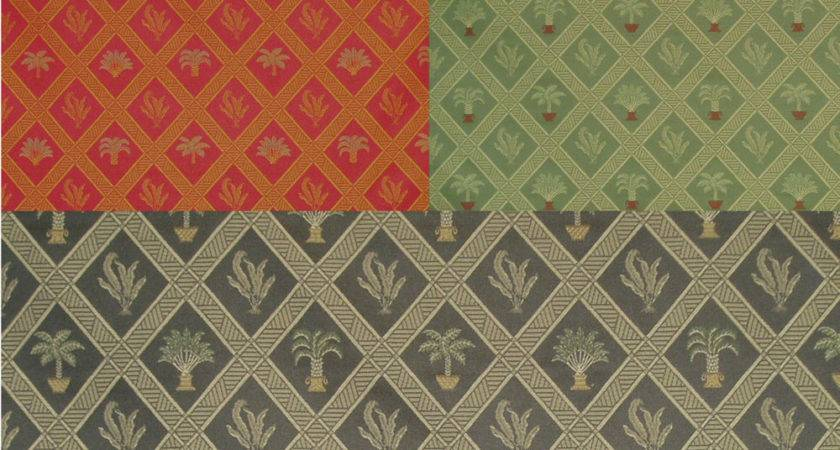 Tropical Palm Palmetto Tree Art Deco Woven Upholstery