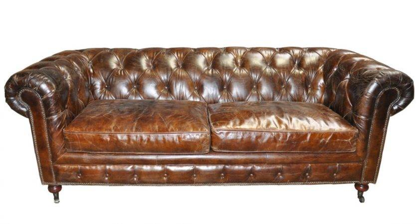 Tufted Leather Couch Black Sofa