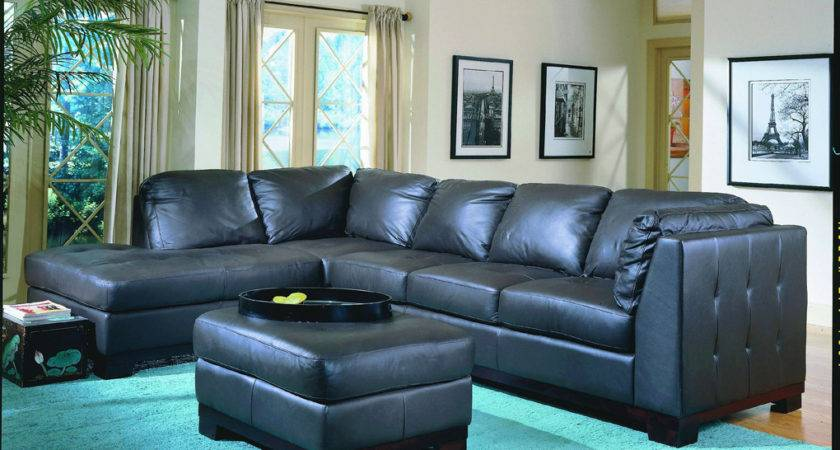 Tufton Black All Leather Sectional Living Room Set