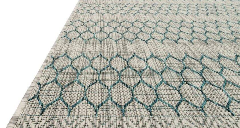 Tulum Global Teal Grey Pattern Outdoor Rug