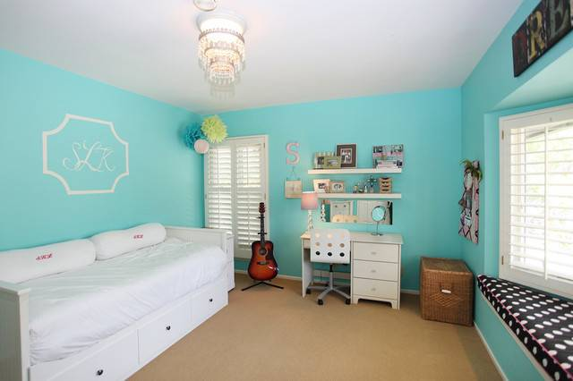 Turquoise Bedroom Eclectic Los Angeles