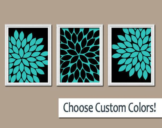 Turquoise Black Wall Art Bedroom Canvas Prints Trmdesign