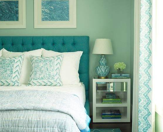Turquoise Blue Bedroom Brush Strokes Lamp