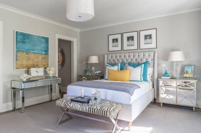 Turquoise Blue Bottles Contemporary Bedroom Beach