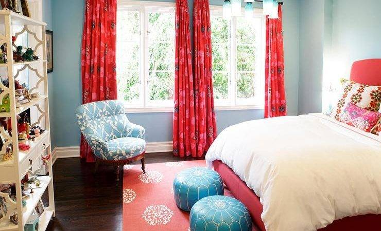 Turquoise Blue Decor Red Bedrooms Wall Girls