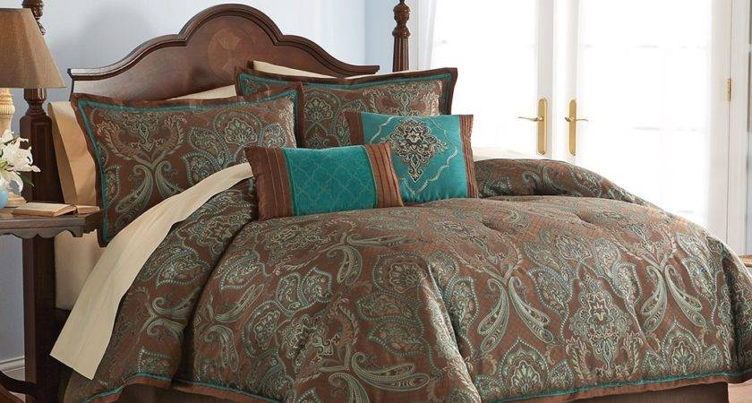 Turquoise Brown Bedding Teal Blue