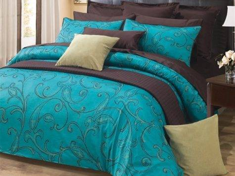 Turquoise Dark Brown Paisley Design Cotton Duvet