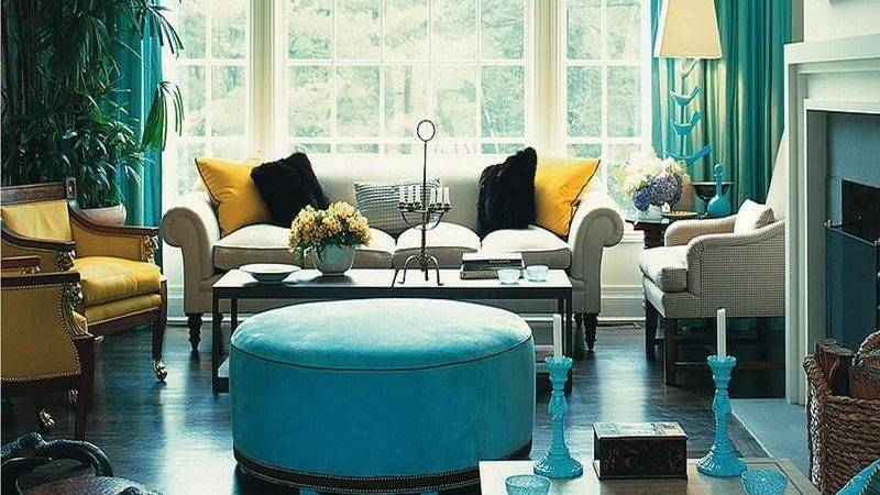 Turquoise Gold Living Room Decor