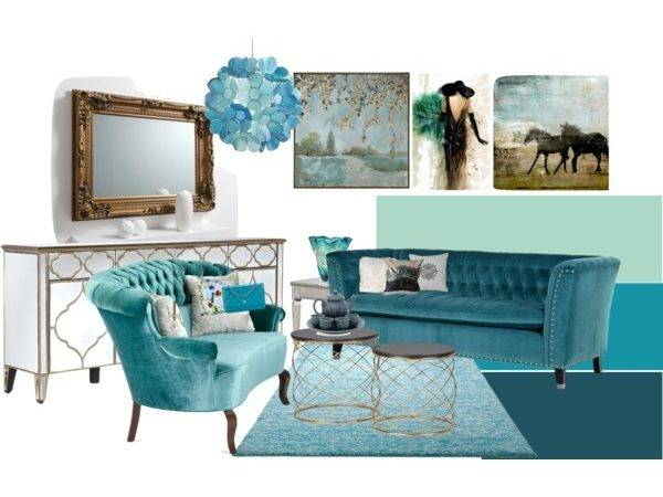 Turquoise Gold Living Room Polyvore