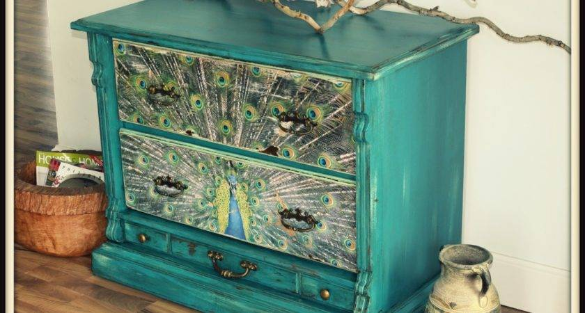 Turquoise Iris Furniture Art Teal Vintage Dresser