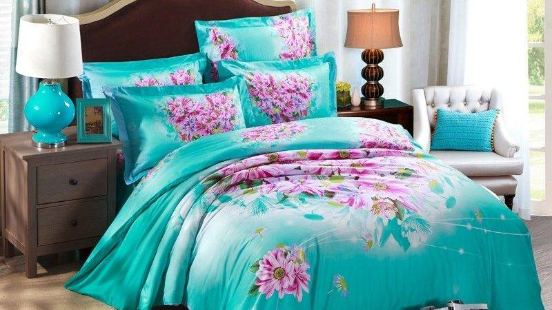 Turquoise Orchid Purple Bright Floral Country Chic
