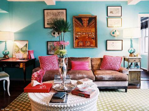 Turquoise Paint Color Eclectic Living Room Benjamin