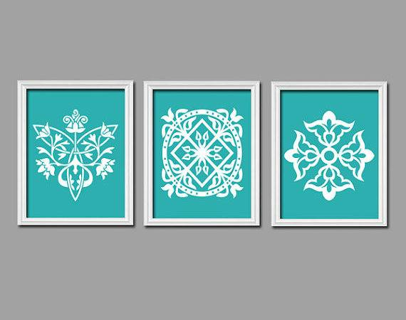 Turquoise Wall Art Bedroom Canvas Prints
