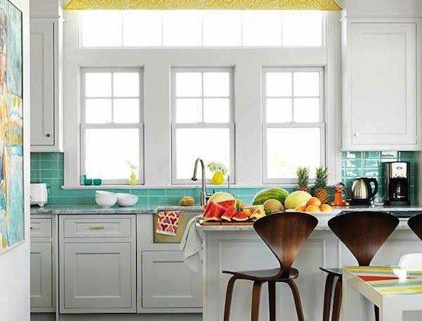 Turquoise Yellow Kitchen Contemporary