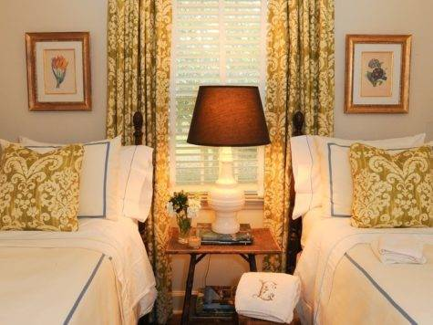 Twin Beds Small Guest Room Matching Curtains