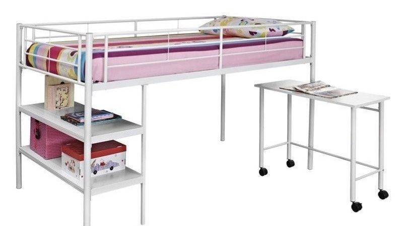 Twin Loft Bed Desk Shelves White Btld Spwh