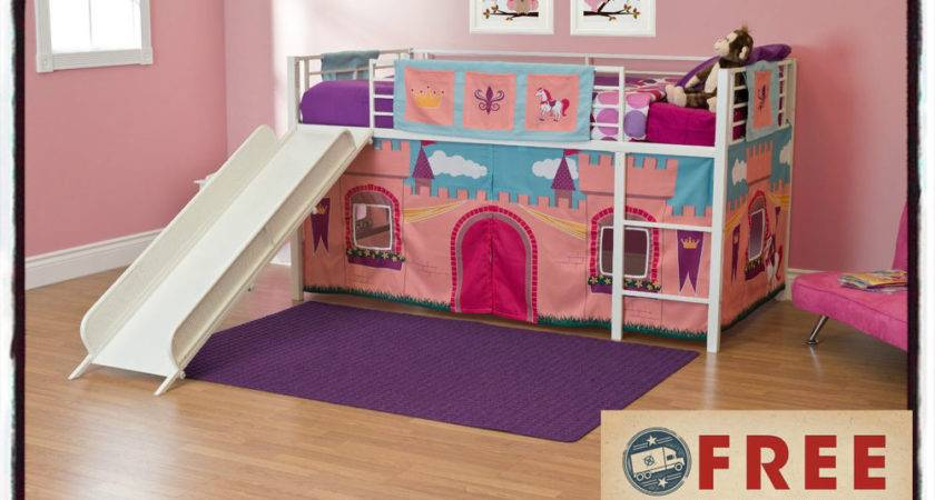 Twin Loft Bed Slide Tent Princess Castle Bunk Beds Pink