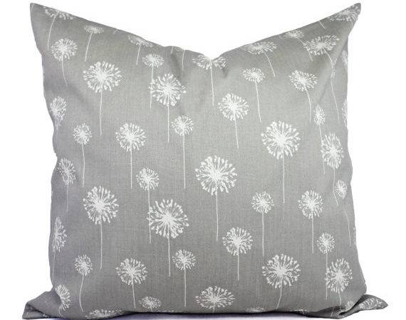Two Grey Dandelion Couch Pillows Shams