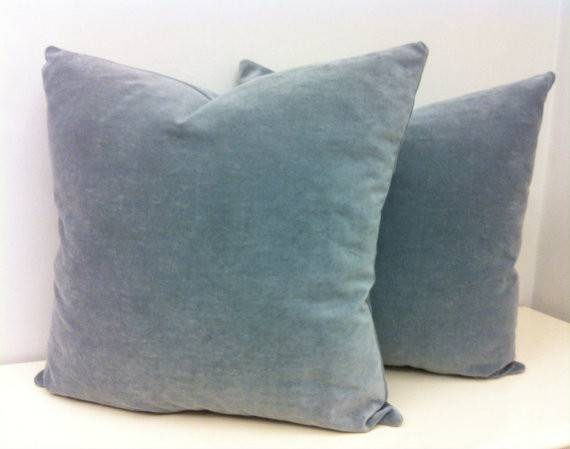 Two Grey Velvet Pillow Covers Throw