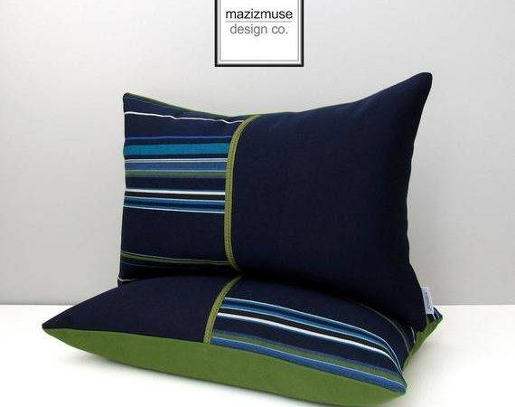 Two Navy Blue Green Pillow Covers Modern Outdoor Striped