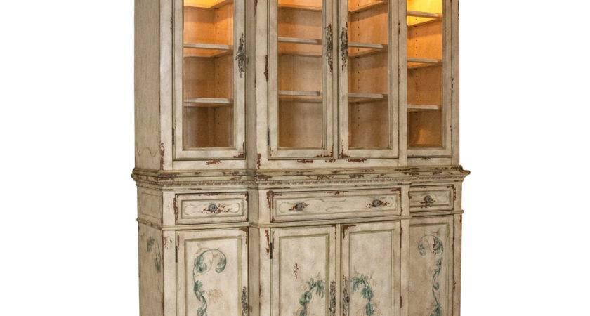 Two Piece Paint Decorated China Cabinet Breakfront