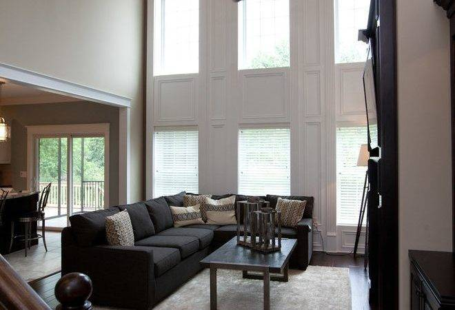 Two Story Window Living Room Traditional Windows