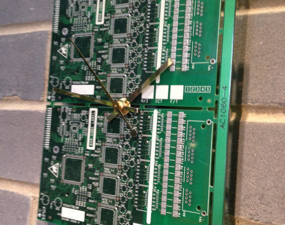 Two Tone Green Circuit Board Motherboard Wall Clock Fathers