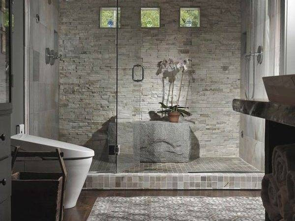 Unique Bathroom Stacked Stone Wall Interior Design