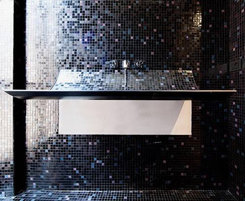 Unique Curved Bathroom Sink Black Mosaic Tile Skin