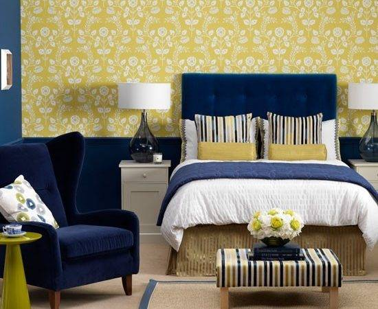 Unique Yellow Blue Bedroom Regarding Decorating Home