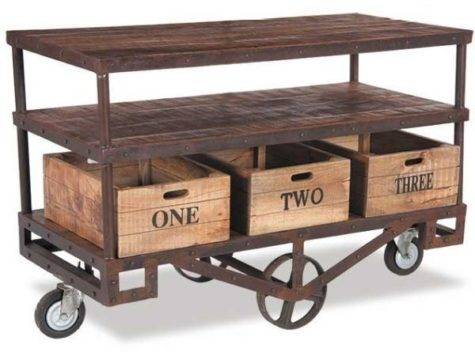 Vac Vintage Iron Wood Trolley Cart Shivam