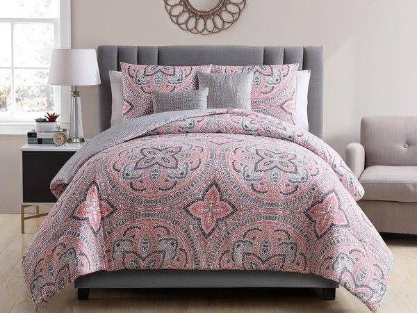 Vcny Home Allison Coral Grey Reversible Piece Comforter