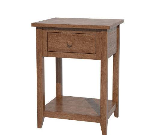 Venice Nightstand Shelves Solid Wood