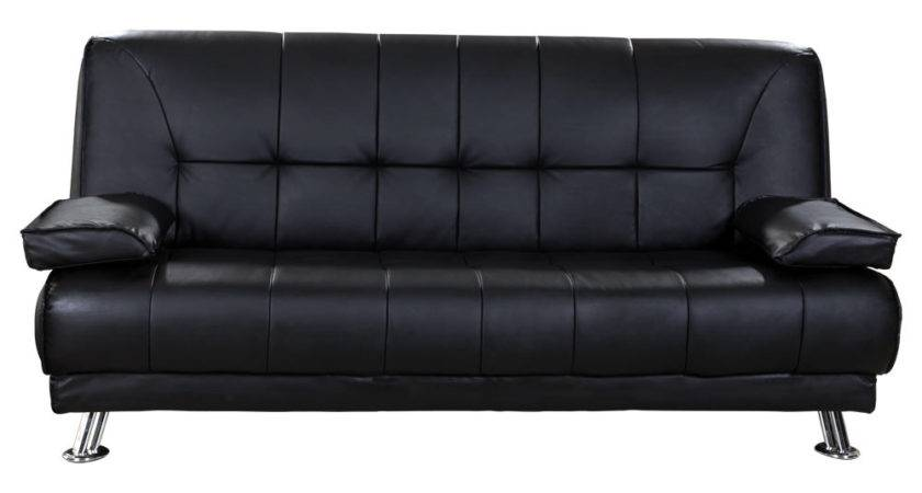 Venice Seater Black Sofa Bed Faux Leather Chrome Legs