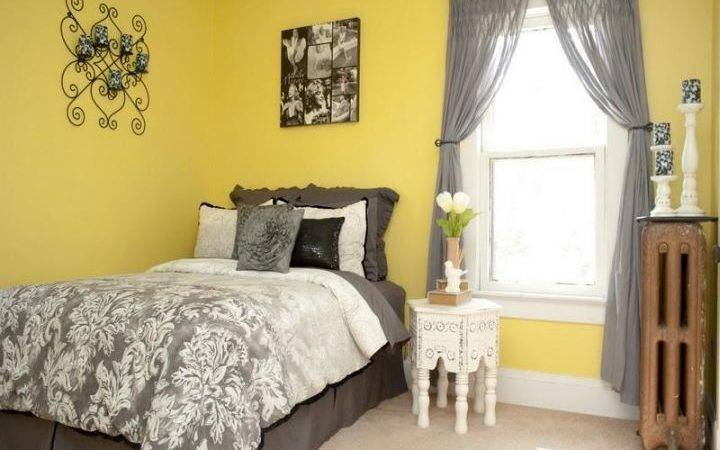 Vibrant Yellow Gray Bedroom Ideas