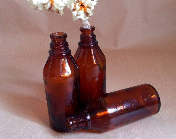 Vintage Apothecary Bottles Small Amber Tinted Medicine Pressed