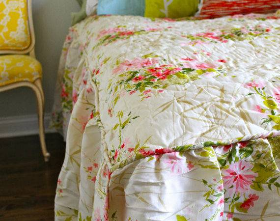 Vintage Bedding Shabby Chic Floral Pink Green Yellow