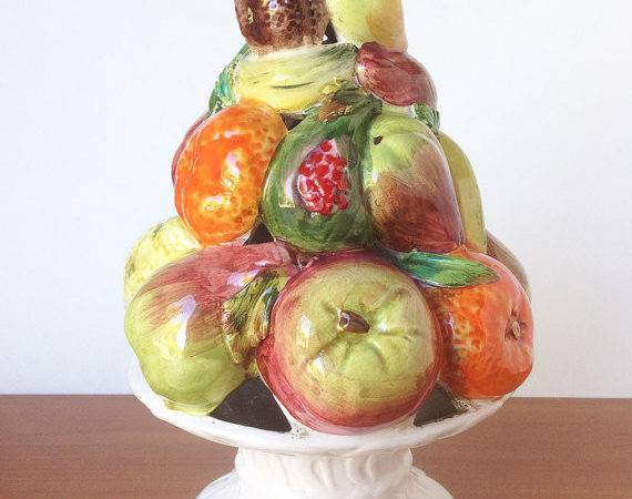 Vintage Ceramic Fruit Topiary Made Italy Retro