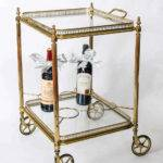Vintage French Brass Bar Cart Drinks Trolley Stdibs