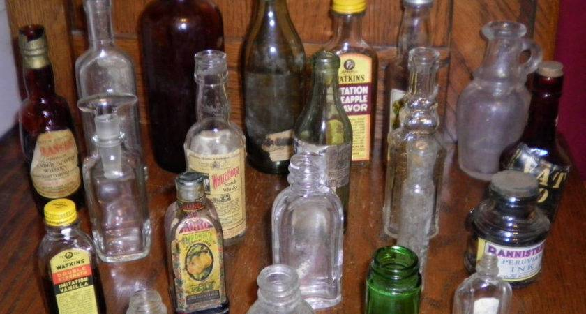 Vintage Lot Small Glass Bottles Medicine Apothecary