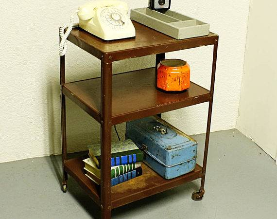Vintage Metal Cart Serving Kitchen Brown