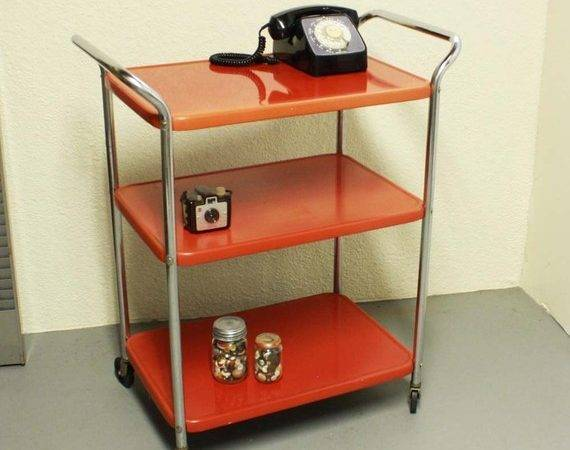 Vintage Metal Cart Serving Kitchen Red