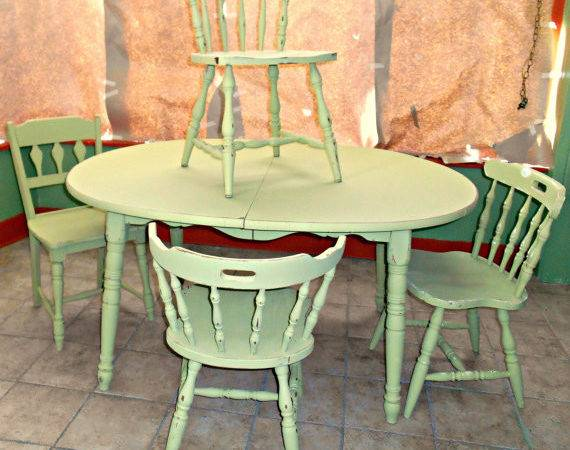 Vintage Olive Green Shabby Chic Dining Table