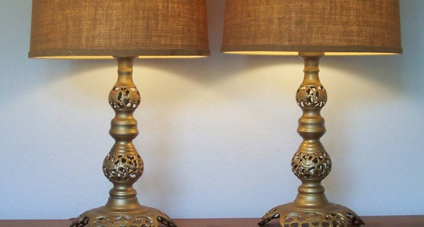 Vintage Pair Moroccan Style Pierced Brass Table Lamps