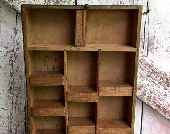 Vintage Primitive Shelf Wood Rustic Printer Like Curio
