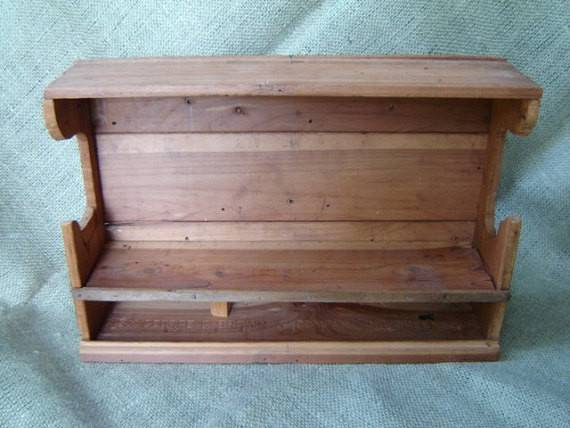 Vintage Primitive Wood Wall Shelf Stamped George Brown