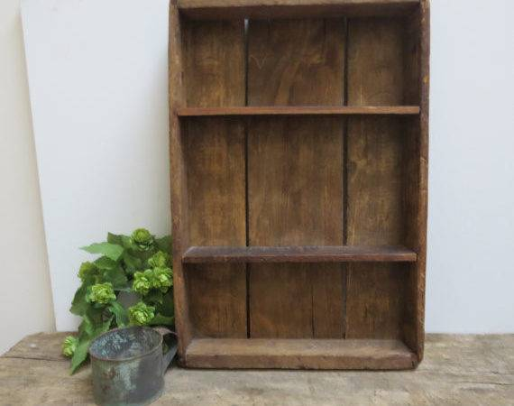Vintage Primitive Wooden Tray Wall Shelf Carrier Farmhouse