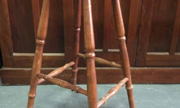 Vintage Rustic Wooden Bar Stool Ebay