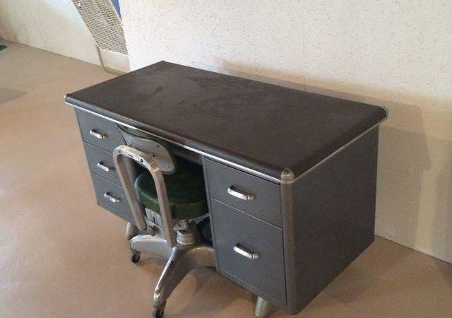 Vintage Steel Tanker Desk Matching Chair Chairish
